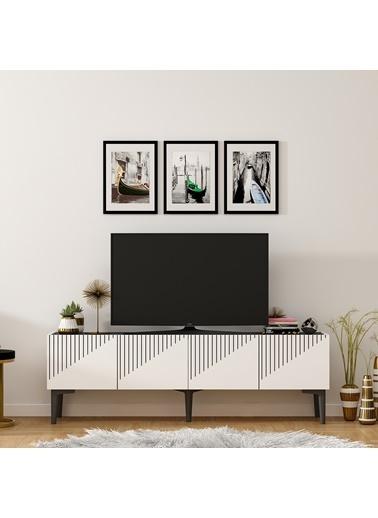 DemonteDekor GRAND TV ÜNİTESİ ANTRASİT-CEVİZ Beyaz